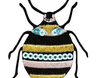 Patch-beetle animal insect with Pailleten – Black – 4.6 x 3.8 cm-by catch-the-Patch ® patch appliqué applications for ironing application patches patch