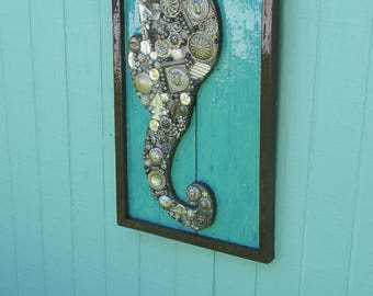 Large Framed Silver Seahorse