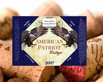 Custom Wine Bottle Labels- Military Homecoming- Special Occasion Labels- American Patriot