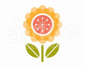 ORANGE FLOWER Clipart Illustration for Commercial Use | 0064