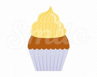 YELLOW BUTTERCREAM CUPCAKE Clipart Illustration for Commercial Use | 0072