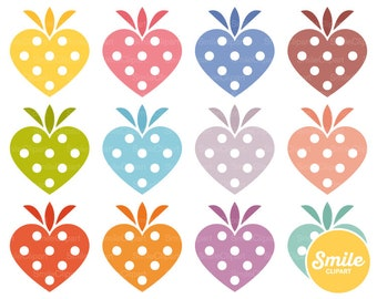 Heart Strawberry Clipart Illustration for Commercial Use | 0556