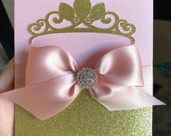 Beautiful princess invitation/ Quinceaneras/sweet16/Baptism/BabyShowers