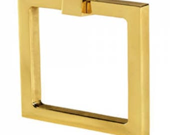 """Cabinet Pulls-Solid Brass 3"""" Square Ring Pulls-Brass Pulls- Square Pulls Drawer Pulls -"""