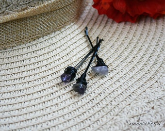 Amethyst Tumbled Gemstone Nugget Wire Wrapped Hair Pins. Gemstone Hair Accessory, Gift for Her, Purple amethyst bobby pin