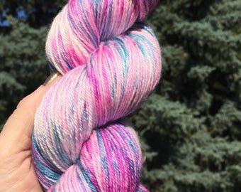 Hand dyed yarn 50/50 Silk and Merino