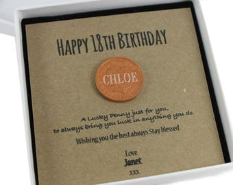Personalised Happy 18th Birthday Keepsake Gift, Lucky Penny Birthday Gift