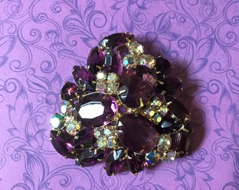 Stunning Large Vintage Juliana Style Purple and Aurora Borealis Brooch