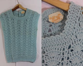 Vintage 50s Super soft baby blue acrylic hand made crochet sweater vest by Glentex size small