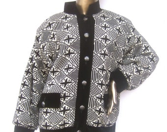 Yves Saint Laurent Rive Gauche Geometric Boxy Wool Knit Jacket c 1980s