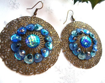 bronze lace earring with blue Chinese hat