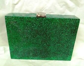 Emerald Glitter Resin Clutch Marbled Effect Retro Vintage/Evening Clutch/Party Clutch/Wedding Clutch