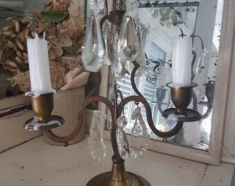 Antique Girandoles candleholder Candelabre candle holder glass prisms