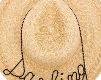 "Unique gift,6"" brim, Darling hat with rhinestones"