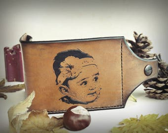 Baby girl portrait hand engraved mens leather wallet. customized using your own picture. A strap fastening wallet with a coin compartment