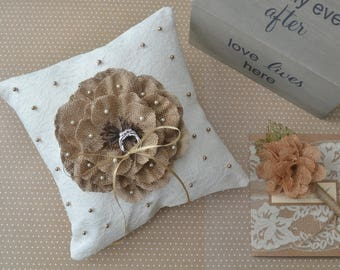 Ring pillow, Ring bearer, Ring bearer pillow, Lace ring pillow, Wedding ring pillow, Ring cushion, Rustic ring pillow, Ivory lace pillow
