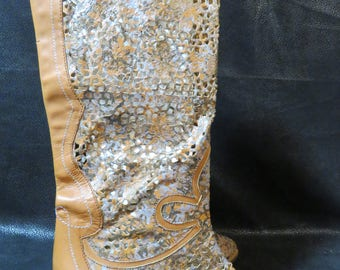 Vero Cuoio-Montebello- Leather Boots- Made in Italy- Beautiful Cut Outs in Leather Look Like Lace- Never Worn- Western/ Country Style