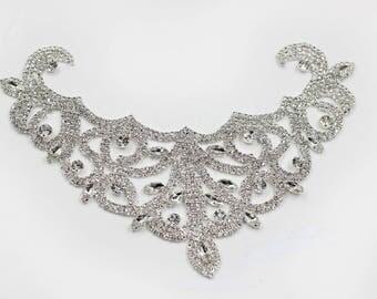 silver crystal trim, applique trim, Bridal Applique, crystal trim, rhinestone applique, crystal sash, bridal sash headband wedding headpiece
