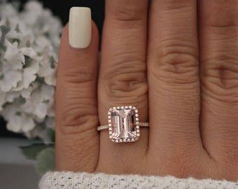 Emerald Cut 10x8mm Morganite Rose Gold Engagement Ring, Diamond Halo Half Eternity Band, Morganite 14k Rose Gold Ring, Diamond Ring, Promise
