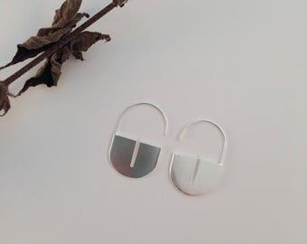 Big earrings. Silver earrings. Geometric earrings. Padlock earrings.