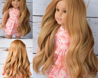 "Custom Doll Wig for 18"" American Girl Doll  - Heat Safe - Tangle Resistant - fits 10-11.5"" head size of doll GOTZ Hannah AND more Ginger Red"