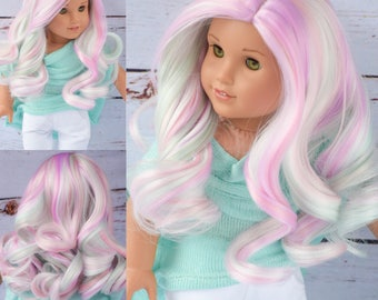 "Custom Doll Wig for 18"" American Girl Doll  - Heat Safe - Tangle Resistant - fits 10-11.5"" head size of all 18"" dolls Gotz Journey Girls Og"
