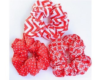 3pc set Red Scrunchies, Ponytail holder, Cotton Scrunchies, Hair Scrunchie, Hair Tie, Scrunchie