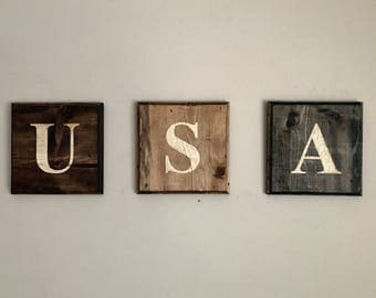 Hand Carved Wood|USA|Wood Wall Art|Letter Blocks|Wood Letters|Americana|Rustic Wood|Reclaimed Wood Letters|Rustic Sign|Summer Outdoors