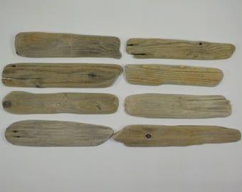 8 Flat Driftwood 6.7-8.4''/17-21 Aged Driftwood Pieces - Flat Driftwood Frame - Driftwood Name Tag - Genuine Driftwood #14A