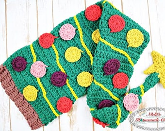CROCHET PATTERN: Christmas Tree Hat Scarf *funny *cool *unique *adult *teen *adjustable