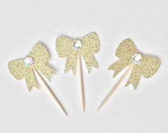 ON SALE Bow Cupcake Toppers. Rhinestone bow cake toppers. Babyshower cupcake toppers. Paper decor.