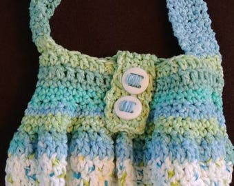 Crochet Purse, Blue Green and White