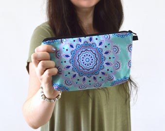 "Mandala Flower Print Zippered Cosmetic Bag, Make-up Bag, Toiletry Bag, Pouch - 8"" x 5.5"""