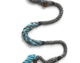 Grey and Aqua Martingale Rope Leash   Grey and Aqua Dog Lead   Nautical Rope Dog Leash   Custom Rope Dog Lead