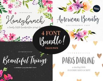 Value Font Bundle - 4 in one Handwritten font download - Modern calligraphy font - Font for invitations, wedding, logo,scrapbooking