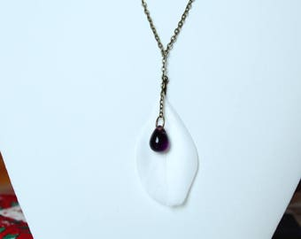 Bronze necklace, glass drop bead violet purple and white feather
