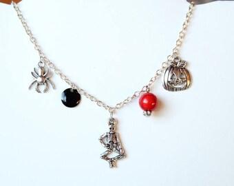 Silver halloween skeleton pumpkin spider necklace