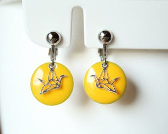 clip with yellow enameled sequin and silver origami bird earrings