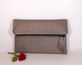 Evening clutch bag, wedding clutch for bride, foldover leather clutch, Bronze leather purse, gift for bridesmaids, wedding beige clutch bag