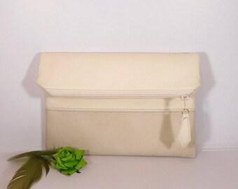Cream wedding clutch for bride, Evening clutch bag, foldover leather clutch, beige leather purse, Personalized Envelope, wedding vanilla bag