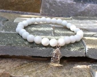 Buddha bracelet white jade mala bracelet