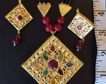 semi precious gemstones  jadau necklace set with earrings