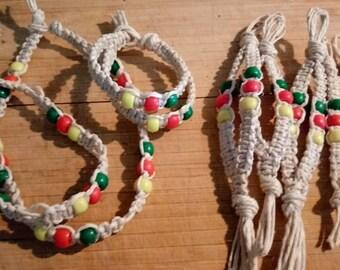 Rasta Hemp Anklets/Bracelet/Keychains