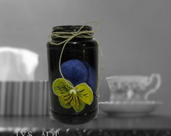 Black Glass Vase Flower Pansy Painting
