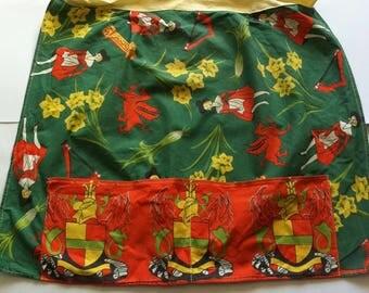 Vintage Welsh half Apron, Handmade, cotton, size 10-12.