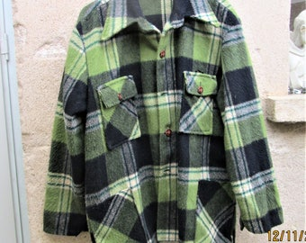 Vintage Wool Jacket, 1970's clothing, warm clothes, winter clothing, walking jackets, plaid clothing,