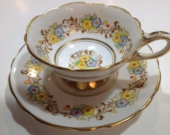 Royal Stanford Bone China Tea Cup and Saucer, Yellow and Blue Flowers