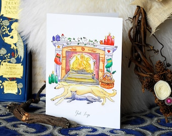 Yule Logs Christmas Card, Christmas Greeting card, Watercolour Christmas Card, Festive Greeting Card, Cat and Dog Card, Family Pets Card