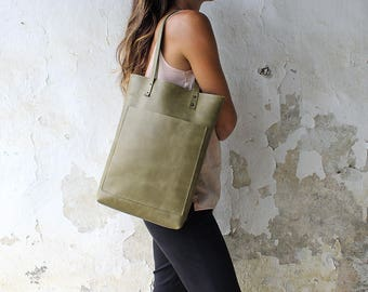 Distressed Olive Green , kaki green TOTE BAG, cowhide Leather bag, quality leather