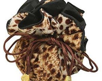"Leopard print furry pouch, 10"" diameter, sold by the dozen"